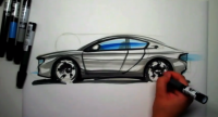 sketching sport car by marker pen