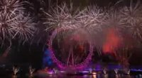 Music Play with the Firework Display in New Year Eve