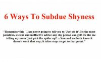 ways to subdue shyness part 1