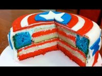 making Captain America cake
