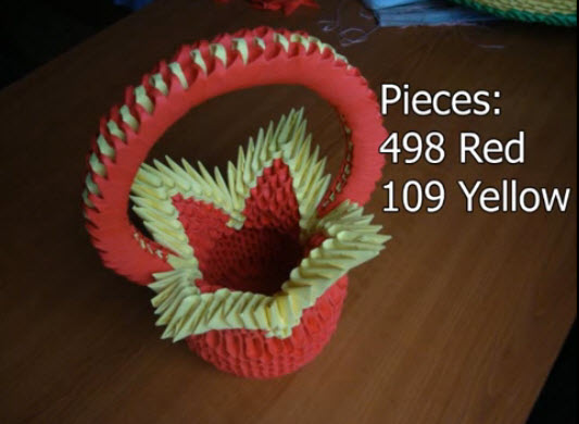How to make 3d origami flower basket