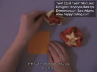 How to make origami twirl, tutorial video, just twist
