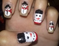 Winter Nail Tutorial ♡: Snowman Nail Art