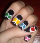 Colorful ribbon / bow tie nail tutorial