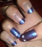Elegant navy blue and beige nail design