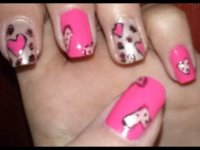 Valentine's Day inspired nail design : Hearts and leopard print nail tutorial