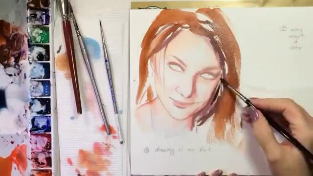 how to paint a realistic mouth lips watercolor portrait tutorial